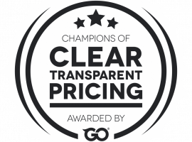 Clear Transparent Pricing Award by GoProposal - White Bottle Top