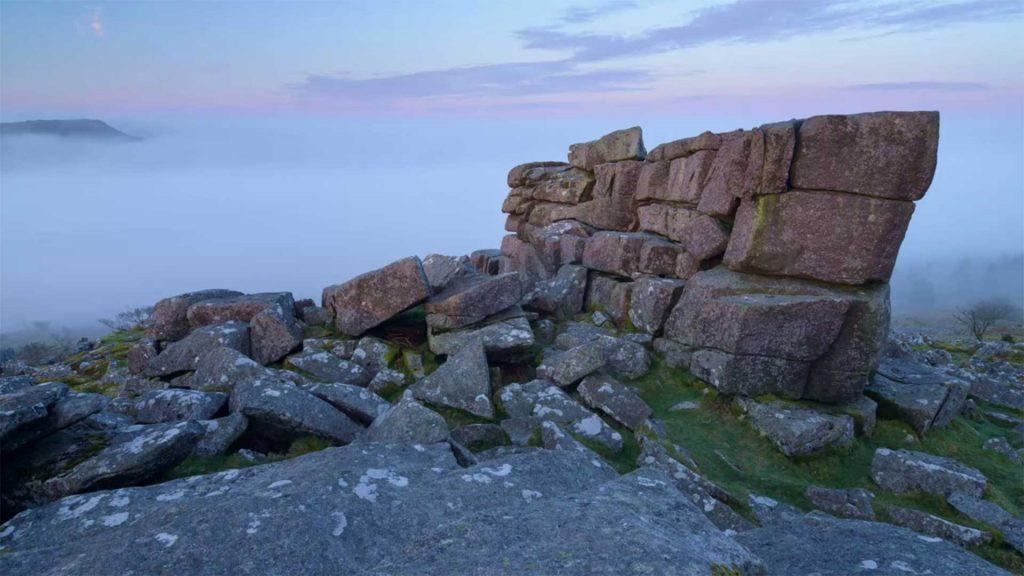 rocks on misty mountain